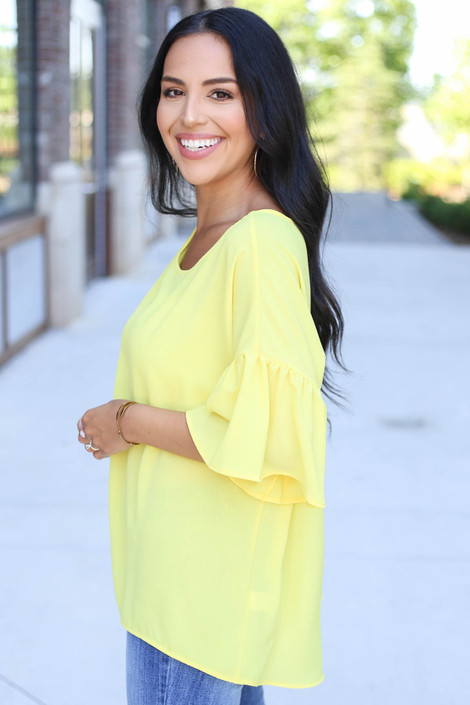 Yellow - Bell Sleeve Blouse Side View