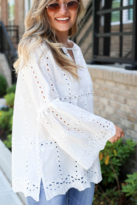 White - Eyelet Bell Sleeve Blouse Side View