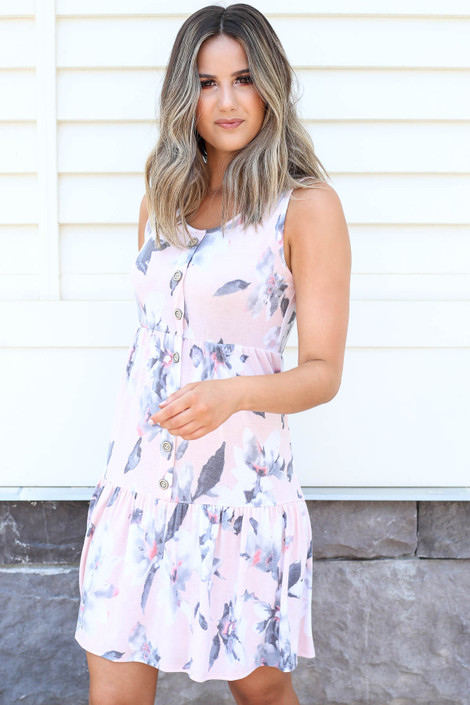 Blush - Tiered Button Up Floral Dress Side View