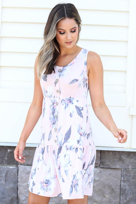 Model wearing Blush Tiered Button Up Floral Dress Side View