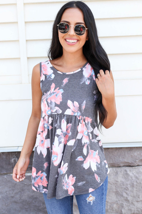 Charcoal - Floral Babydoll Tank