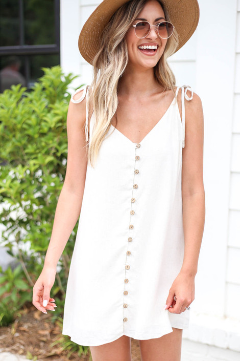 Ivory - Button Front Swing Dress