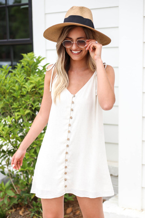 MoModel wearing Ivory Button Front Swing Dress Front View