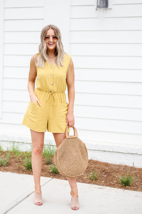 Mustard - Windowpane Plaid Romper Full View