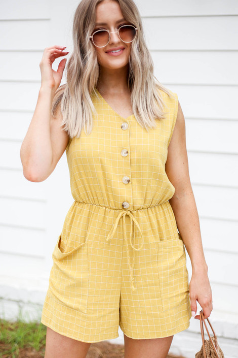 Model wearing Mustard Windowpane Plaid Romper Front View