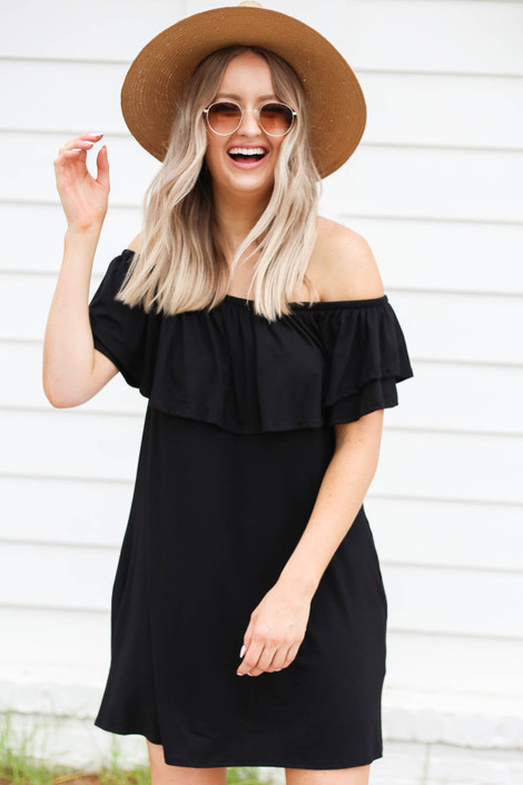 Black - Off the Shoulder Pocketed Mini Dress