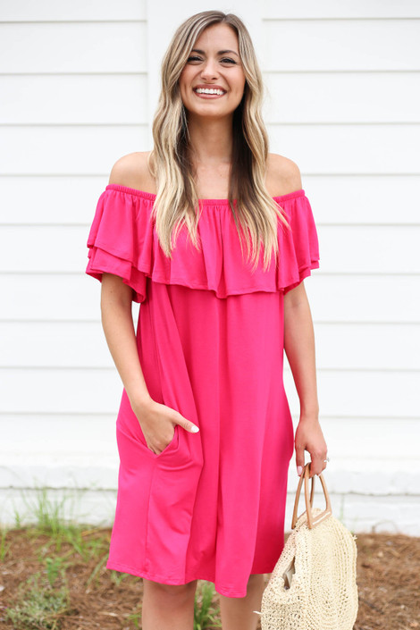 Neon Pink - Off the Shoulder Pocketed Mini Dress