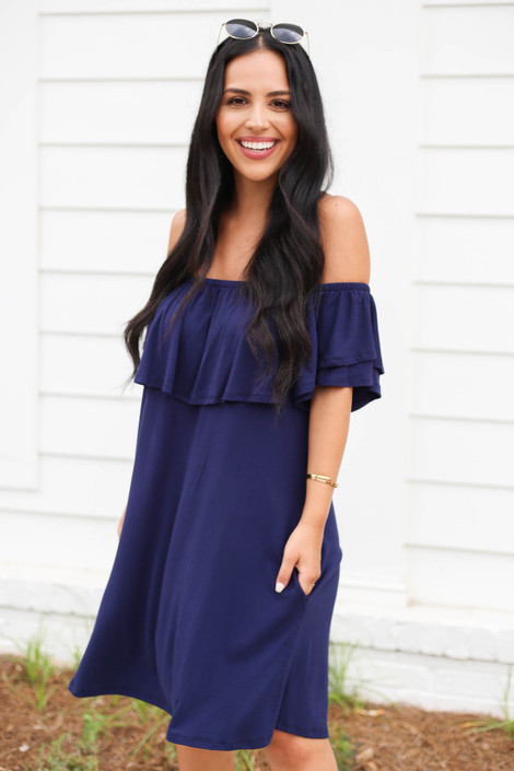 Model wearing Navy Off the Shoulder Pocketed Mini Dress Front View