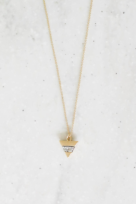 Silver - Stone Pendant Necklace Flat Lay