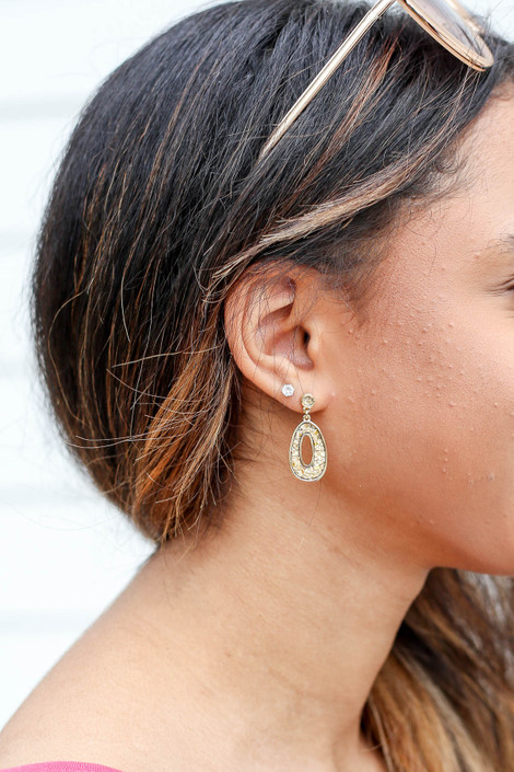 Gold - Oval Stone Drop Earrings on Model