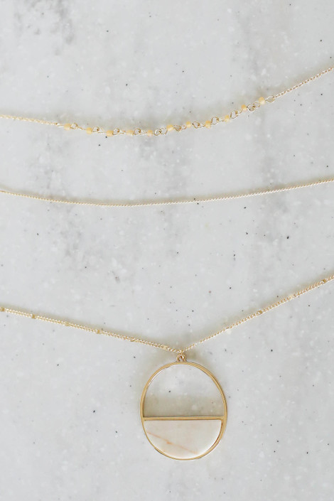 Ivory - Layered Marble Pendant Necklace Flat Lay