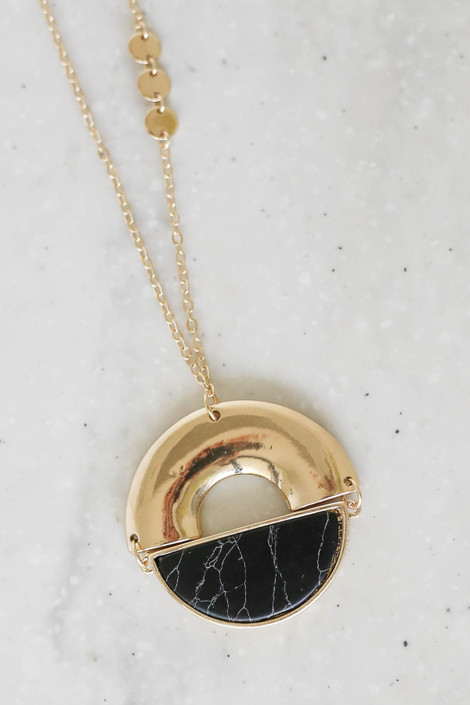 Black - Marble Pendant Necklace Flat Lay