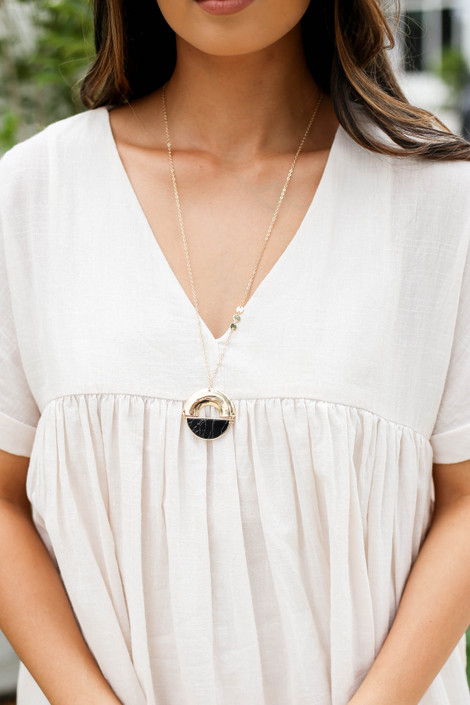 Black - Marble Pendant Necklace on Model