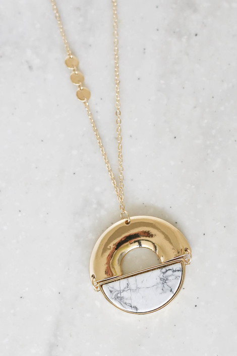White Marble Pendant Necklace Flat Lay