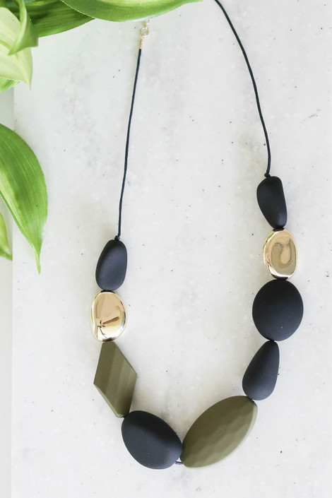 Grey - Beaded Statement Necklace Flat Lay
