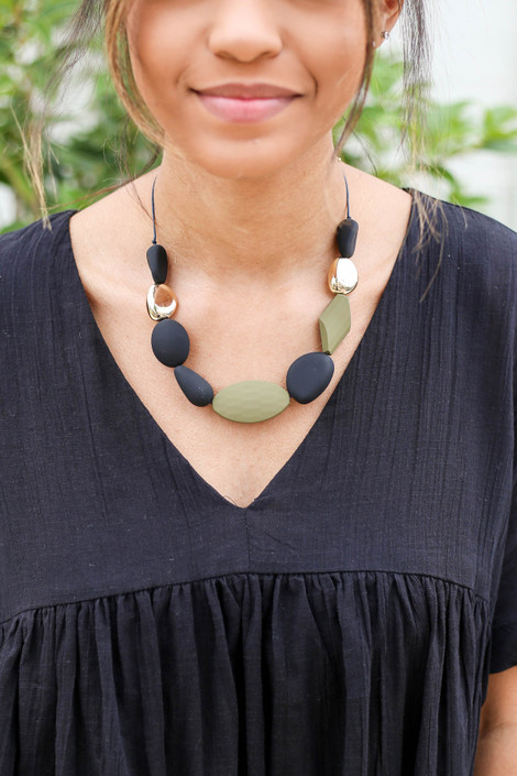 Grey - Beaded Statement Necklace on Model