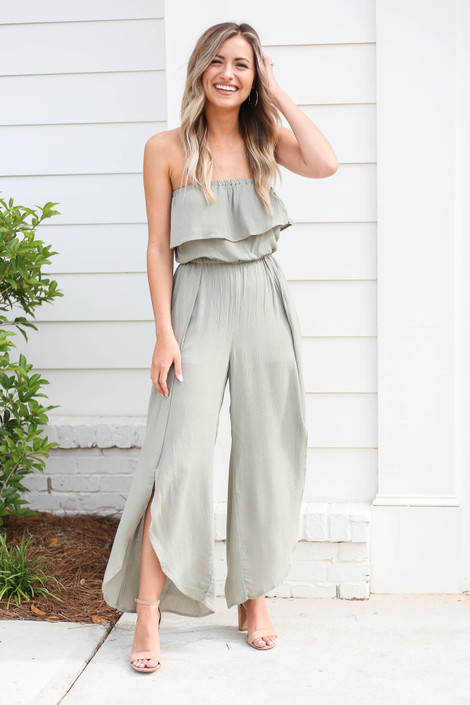 bb7df5225fa7 Olive - Split Leg Strapless Jumpsuit ...