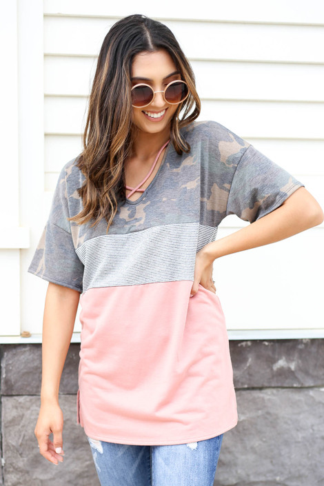 Model wearing Peach, Camo and Striped Color Block Tee Front View