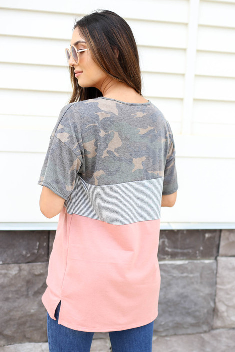 Model wearing Peach, Camo and Striped Color Block Tee Back View
