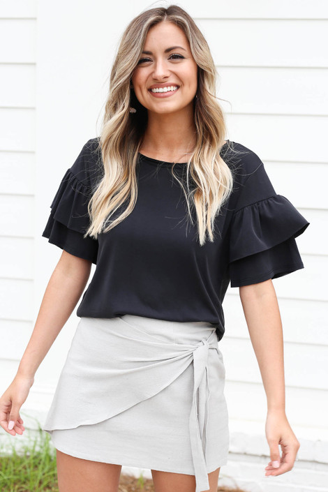 Black - Ruffle Sleeve Top Tucked In