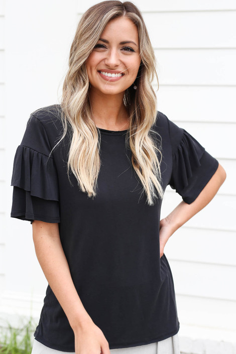 Black - Ruffle Sleeve Top