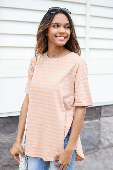 Orange - Striped Side Slit Top