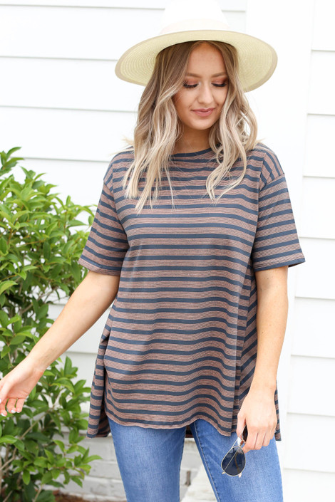 Charcoal - Striped Oversized High Neck Tee