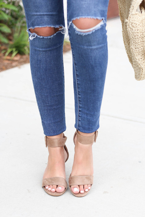 Model wearing Taupe Short Ankle Strap Block Heels Top View