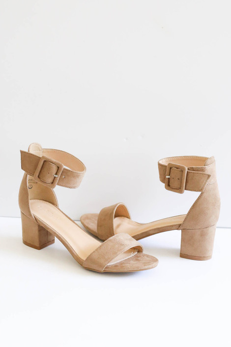 Taupe Short Ankle Strap Block Heels Product Shot