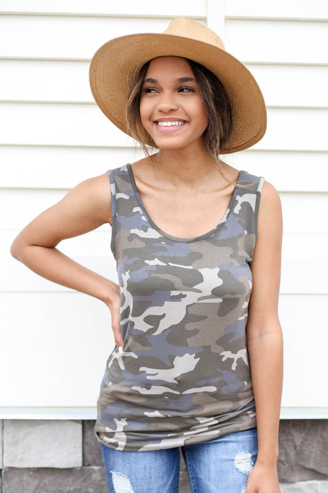 Camo - Scoop Neck Tank Top