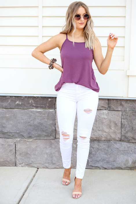 White - Distressed Mid-Rise Skinny Jeans