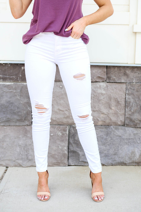 White - Distressed Mid-Rise Skinny Jeans Detail View