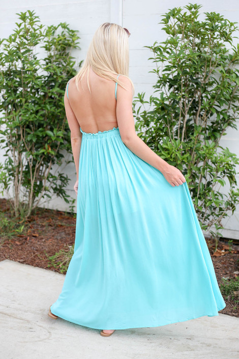 Model wearing Mint Crochet Maxi Dress Back View