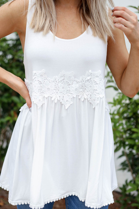 White - Crochet Lace Tank Top Detail View