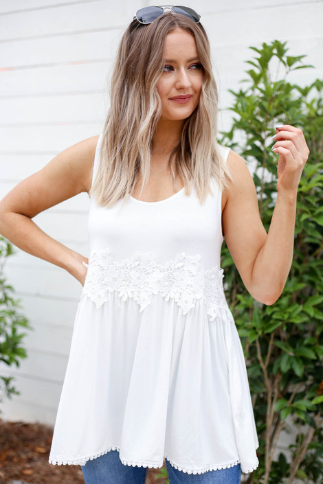 White - Crochet Lace Tank Top