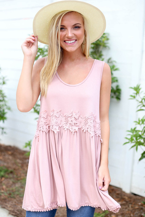Blush - Crochet Lace Tank Top