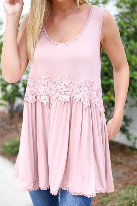 Blush - Crochet Lace Tank Top Detail View