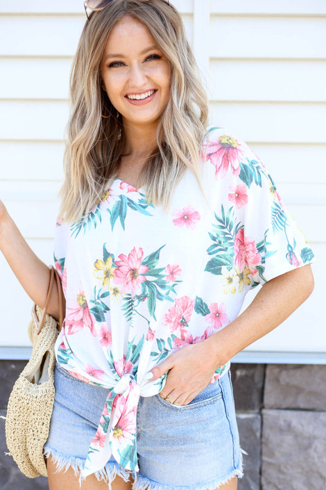 Ivory - Tropical Print Tie-Front Tee