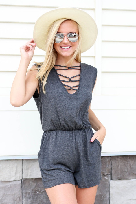 Model wearing Charcoal Criss-Cross Romper Front View