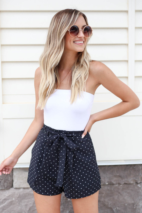Black - Polka Dot Tie Waist Shorts