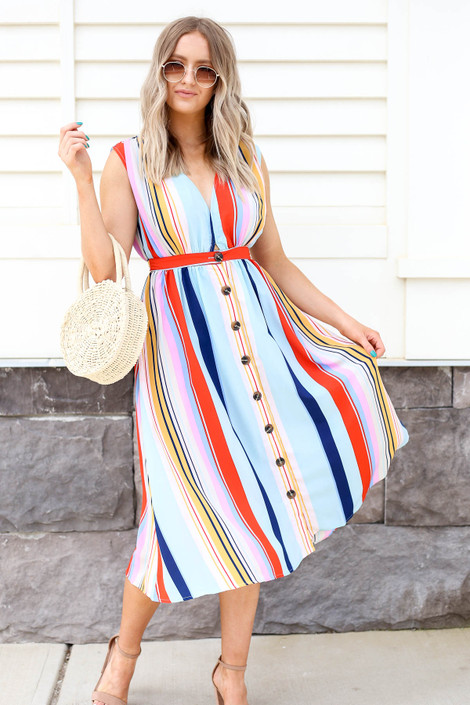 Multi - Striped Button Up Midi Dress