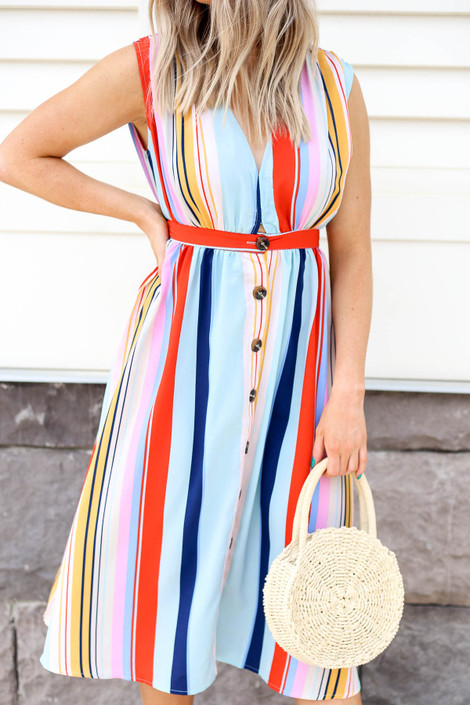 Model looking Multi-Color Striped Button Up Midi Dress Detail View