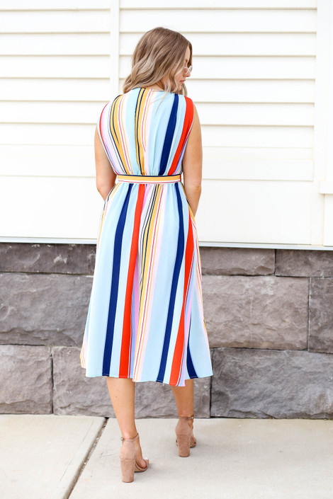 Model looking Multi-Color Striped Button Up Midi Dress Back View
