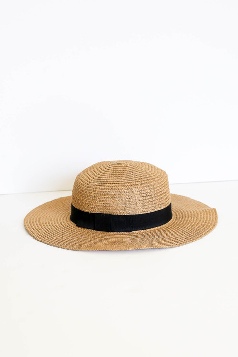 Natural - Straw Floppy Sun Hat Flat Lay