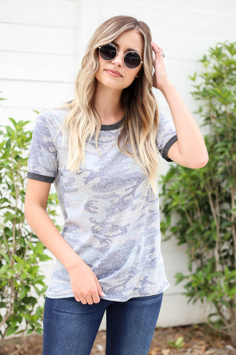Olive - Camo Ringer Tee