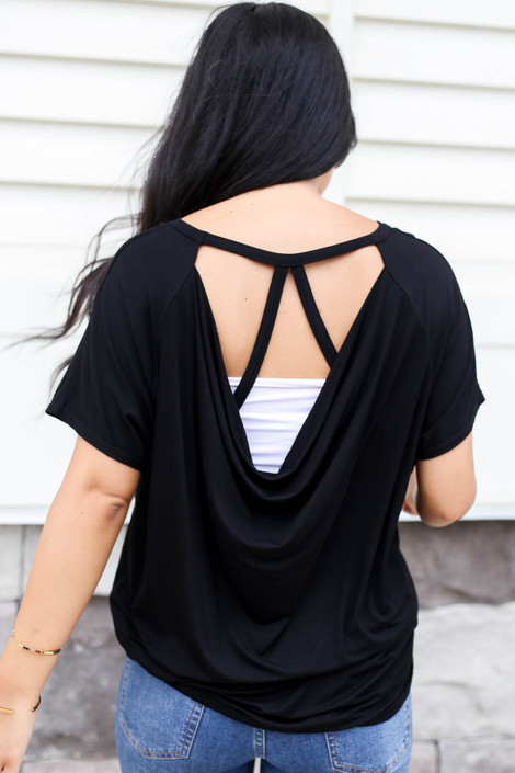Black - Draped Back Top Back View