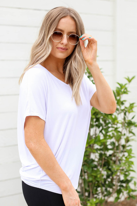 Model wearing White Draped Back Top Side View