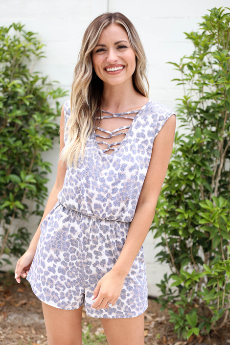 Leopard - Sleeveless Criss Cross Romper