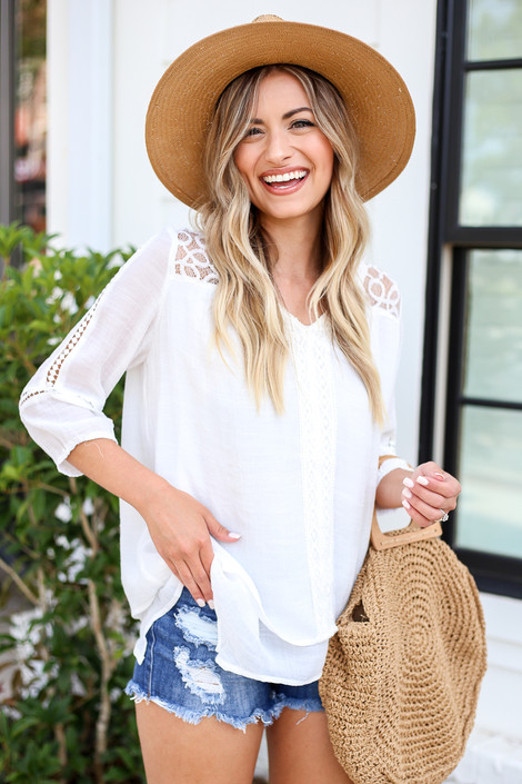 White - Layered Crochet Lace Top