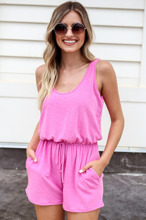 Fuchsia - Sleeveless French Terry Romper